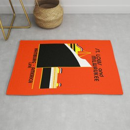 Retro vintage Germany America shipping line advert Rug
