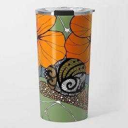 Snail on Nasturtiums Travel Mug