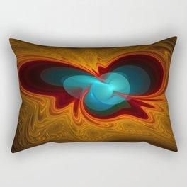 Orange Swirl With Blue Rectangular Pillow