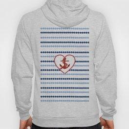 Modern navy blue nautical red heart anchor polka dots stripes Hoody