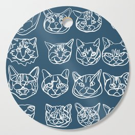 Blue and White Silly Kitty Faces Cutting Board