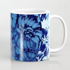 blue floral circle on blue floral Mug