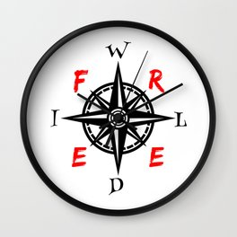 Wild And Free Compass Wall Clock