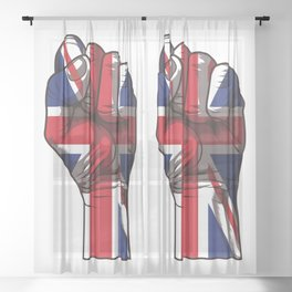 United Kingdom Raised Fist | Union Jack  Sheer Curtain