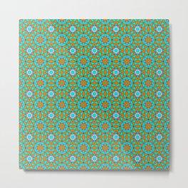 Moroccan Tile 1A - Blue Metal Print