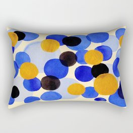 Blue Gold Watercolor Bubbles Circles Painting Rectangular Pillow