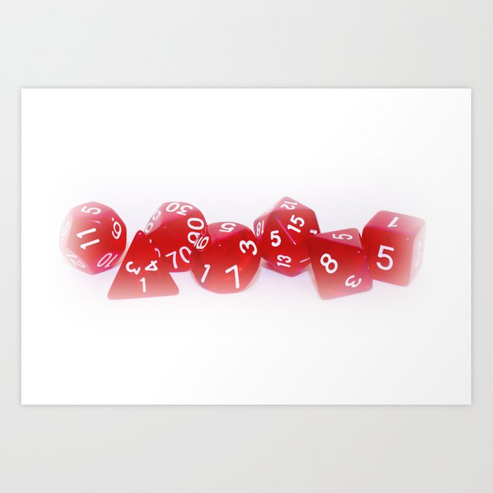Red Gaming Dice Kunstdrucke