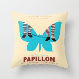 Papillon, Steve McQueen vintage movie poster, retrò playbill, Dustin Hoffman, hollywood film Throw Pillow