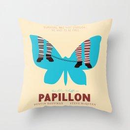 Papillon, Steve McQueen vintage movie poster, retrò playbill, Dustin Hoffman, hollywood film Throw Pillow