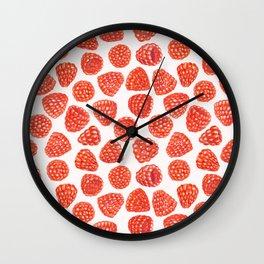 Watercolor raspberry pattern Wall Clock