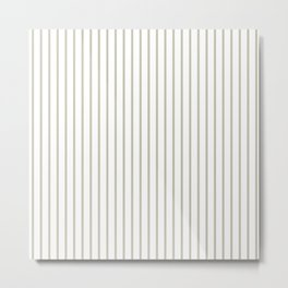 Silver Moss Pinstripe on White Metal Print