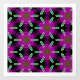 Abstract Spawning Green Fish Geometric Pattern Art Print