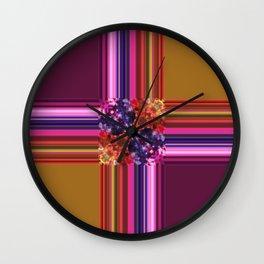 Purplish-Red and Gold Colorblock Abstract Wall Clock