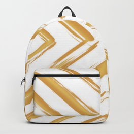 Minimalistic Gold Paint Brush Triangle Diamond Pattern Backpack