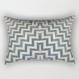 Moroccan floor tiles in green and white chevron Rectangular Pillow