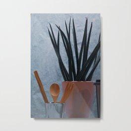 Agave, Spoon tea & Fork in Cup, B Metal Print
