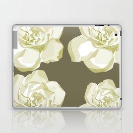 Gray,White Rose background Laptop & iPad Skin