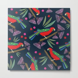 Exotic forest & parrots pattern design Metal Print