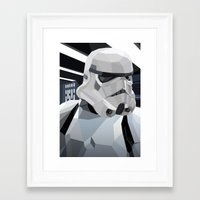 storm Framed Art Prints featuring Stormtrooper by Liam Brazier