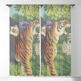 Henri Rousseau Dreaming of Tigers tropical big cat jungle scene by Henri Rousseau Sheer Curtain