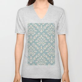 Damask Baroque Pattern Cream on Blue Unisex V-Neck