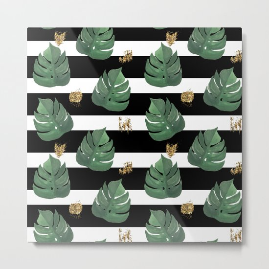 Seamless tropical leaves pattern on stripes background. Greens leaves of exotic monstera plant. Retr Metal Print