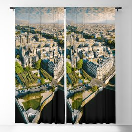 Aerial view of the Notre Dame in Paris Blackout Curtain