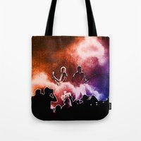 u2 Tote Bags featuring U2 / Adam Clayton / The Edge by JR van Kampen