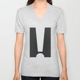 Exclamation (White on Black) Unisex V-Neck