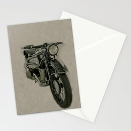 BM army green bike vintage look Stationery Cards