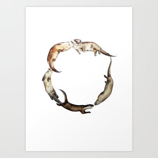 British Otter Wreath Art Print