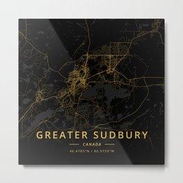 Greater Sudbury, Canada - Gold Metal Print