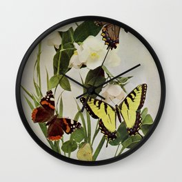 Vintage Butterflies in Nature Illustration (1899) Wall Clock