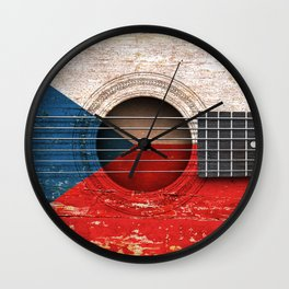 Old Vintage Acoustic Guitar with Czech Flag Wall Clock