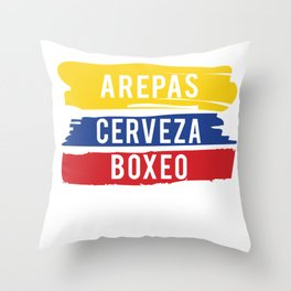 Arepas Cerveza Boxeo design Colombian flag Boxing fan Gift Throw Pillow