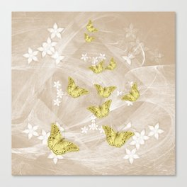 Gold butterflies on stormy iced-coffee flower mandala Canvas Print