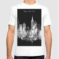 New York City Inverted Watercolor Skyline MEDIUM White Mens Fitted Tee