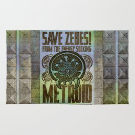 Save Zebes! Metroid Geek Art Vintage Poster Rug
