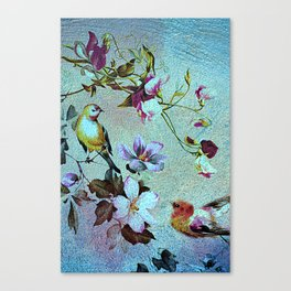 Oriental blossoms and birds Canvas Print
