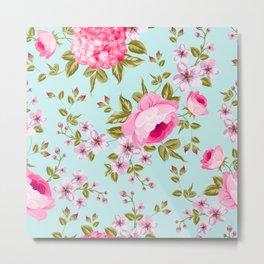 Pink Vintage Flowers Metal Print
