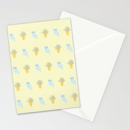 Owl and Olive Plants Pattern, yellow Stationery Cards