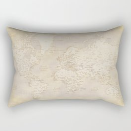 Vintage world map in sepia and gold, Kellen Rectangular Pillow