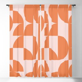 Mid Century Design in Burnt Orange and Blush Blackout Curtain