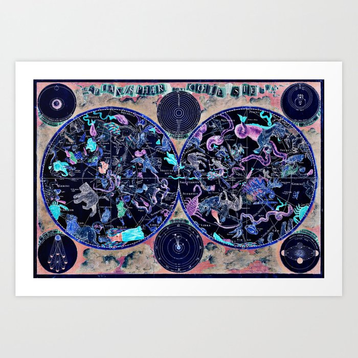Vintage Celestial Map Kunstdrucke