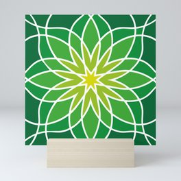 Shades of Green   Abstract Flowers   Geometric Pattern   Green and White   Mini Art Print