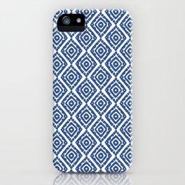 Aztec Prints, Boho Ikat Pattern, Blue and White iPhone Case