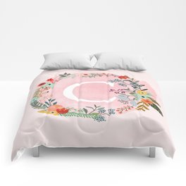 Flower Wreath with Personalized Monogram Initial Letter C on Pink Watercolor Paper Texture Artwork Comforters