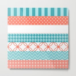 Girly Coral and Teal Washi Tape Pattern Metal Print