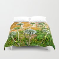 globe Duvet Covers featuring Globe thistles by Pirmin Nohr