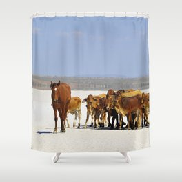 Leading the mob home Shower Curtain
